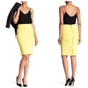 Catherine Malandrino Brilliant Yellow Slim Skirt